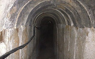 Section of a tunnel discovered running from the Gaza Strip to Israel, October 13, 2013. (photo credit: Times of Israel/Mitch Ginsburg)