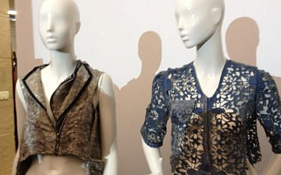 The winner, a laser-cut denim jacket made out of old 501s (right), and the runner-up, cut from a princess-style jacket (photo credit: Jessica Steinberg/Times of Israel)
