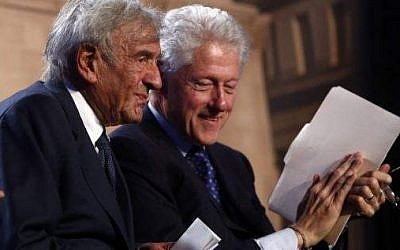 Former President Bill Clinton and Nobel Peace Prize laureate Elie Wiesel at the museum's 20th anniversary commemoration in April (photo credit: courtesy)