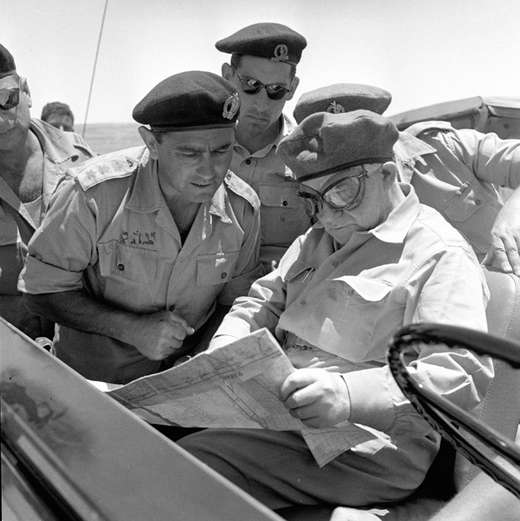 Pundak, left, with Ben-Gurion in May 1956 (Photo credit: IDF Archive/ Ministry of Defense/ photographer unspecified)