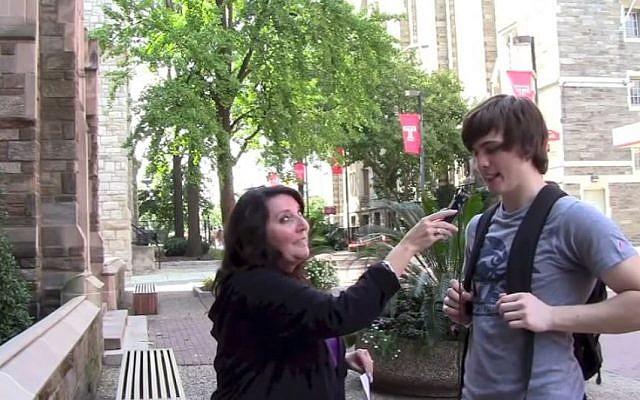 Rhonda Fink-Whitman at Pennsylvania campuses, finding Holocaust ignorance. (photo credit: YouTube screenshot)