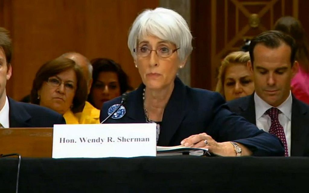 US Undersecretary of State for Political Affairs Wendy Sherman briefs Congress, on Thursday, October 4, 2013. (photo credit: screen capture/YouTube)