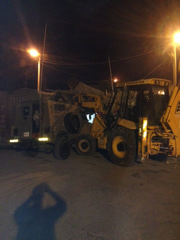 The tractor used in the suspected attack at the Rama IDF base north of Jerusalem October 17, 2013. (Photo credit: IDF Spokesperson's Office)