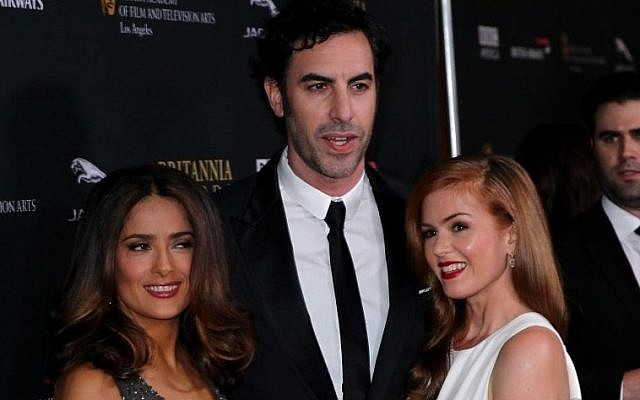Salma Hayek, left, Sacha Baron Cohen, center, and Isla Fisher pose together at the 2013 BAFTA Los Angeles Britannia Awards at the Beverly Hilton Hotel on Saturday, Nov. 9, 2013 in Beverly Hills, Calif. (photo credit: Matt Sayles/Invision/AP)