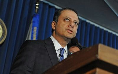 US Attorney Preet Bharara at a press conference, Monday, November 4, 2013, in New York. (photo credit: AP/Louis Lanzano)