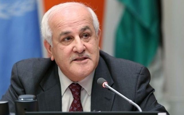 Riyad Mansour, Permanent Observer of the State of Palestine to the UN, addresses the November 25, 2013 meeting at the United Nations, New York. (photo credit: United Nations)
