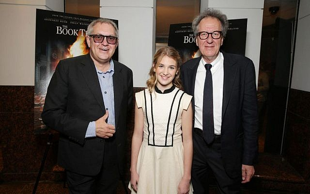 Director Brian Percival, Sophie Nelisse and Geoffrey Rush seen at Fox 2000 Pictures special screening of 'The Book Thief' held at the Simon Wisenthal Center's Museum of Tolerance, on Saturday, Nov, 2, 2013 in Los Angeles. (photo credit: Eric Charbonneau/Invision for Twentieth Century Fox/AP Images)