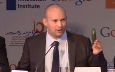 Screenshot from Naftali Bennett's cucumber speech.