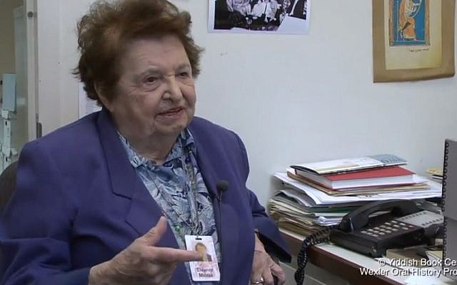 Noted archivist of Yiddish folk music Chana Mlotek. (photo credit: YouTube screenshot)