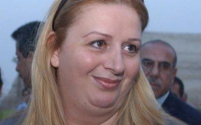 Suha Arafat in 2004. (Sharon Perry/Flash90/File)