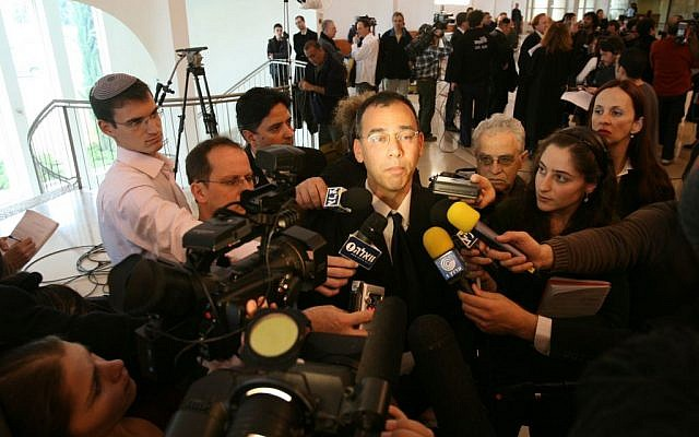 Shai Nitzan, center, speaking to the press in 2008. (photo credit: Yossi Zamir/Flash90)