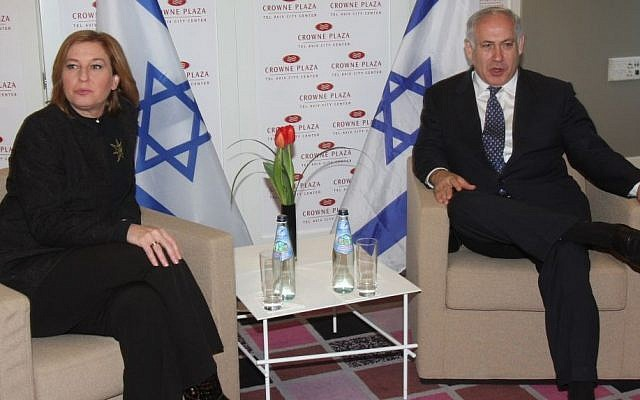 Incoming Prime Minister Benjamin Netanyahu and outgoing foreign minister and Kadima Party leader Tzipi Livni meet in Tel Aviv, February, 2009, on a possible coalition partnership. (Photo credit: Roni Schutzer/Flash90)