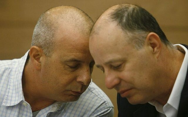 Yuval Diskin, then Shin Bet chief, speaks with Tzachi Hanegbi, then-chairman of the Foreign Affairs and Defense Committee, May 19, 2009. (Photo credit: Miriam Alster/Flash90)