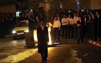 Ultra Orthodox Jewish men protest at Bar Ilan street in Jerusalem on May 16, 2010. (photo credit: Yossi Zamir/Flash90)