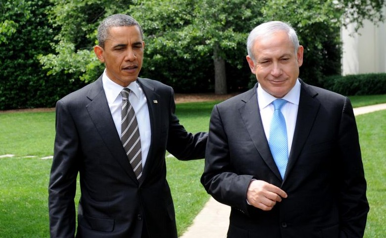 President Barack Obama talks with Prime Minister Benjamin Netanyahu, while walking from the Oval Office to the South Lawn Drive of the White House, after their meeting on May 20, 2011, in Washington, D.C. (photo credit: Avi Ohayon/Government Press Office/Flash90)