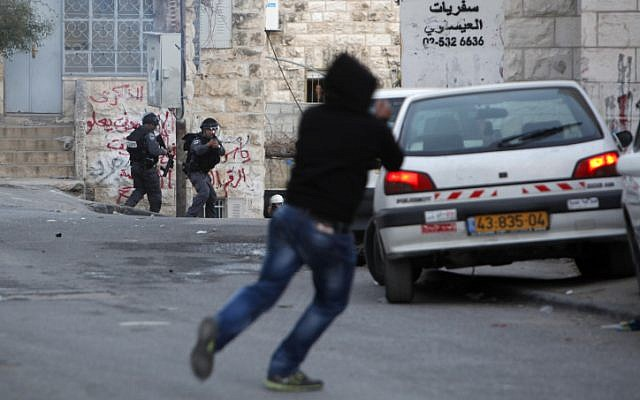 Illustrative photo of a stone throwing attack in East Jerusalem, February 8, 2013 (photo credit: Sliman Khader/Flash90)