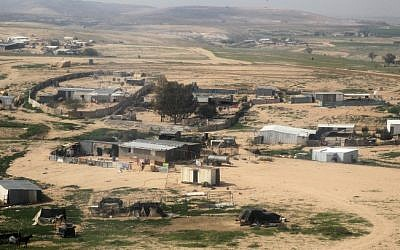 Illustrative photo of a Bedouin village in the Negev, February 2013 (photo credit: Nati Shohat/Flash90)