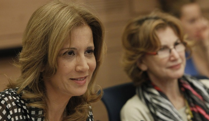 MK Aliza Lavie of Yesh Atid leads a discussion at a meeting of the Knesset Committee for the Status of Women. (photo credit: Miriam Alster/Flash90)