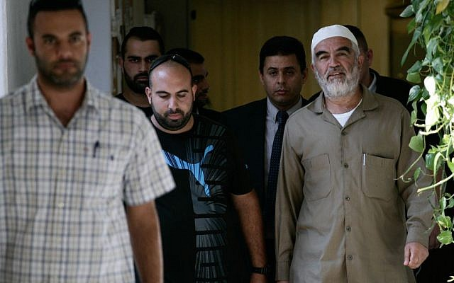 Sheikh Raed Salah, head of the Islamic Movement's northern branch, arrives to Jerusalem's magistrates court, after been arrested by Israeli police. Sep 03, 2013. Photo by FLASH90