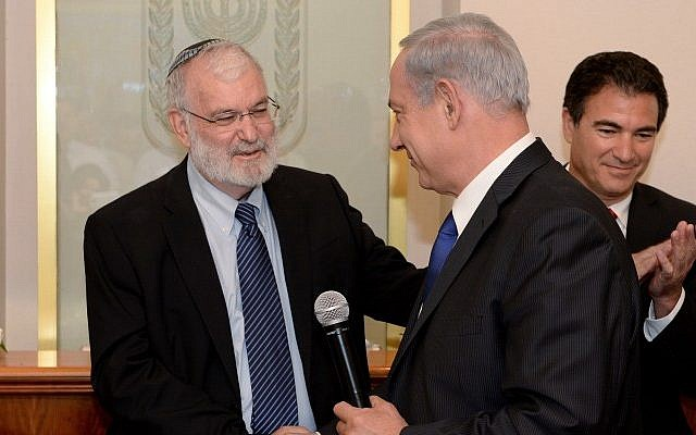 Outgoing national security adviser Yaakov Amidror with Prime Minister Benjamin Netanyahu at a farewell ceremony in Amidror's honor, on November 3, 2013. (Kobi Gideon/GPO/Flash90)