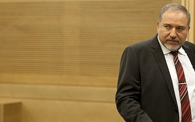 Avigdor Liberman at a Knesset meeting on November 4. (photo credit: Flash90)