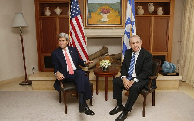 Prime Minister Benjamin Netanyahu (right) meets with US Secretary of State John Kerry in Jerusalem on November 6, 2013. (photo credit: Miriam Alster/Flash90)