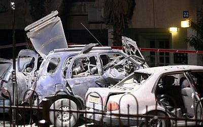 The remains of a prosecutor's car after it was blown up. (photo credit: Roni Schutzer/Flash90)
