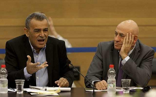 Arab-Israeli MKs Jamal Zahalka (L) and Basel Ghattas (Flash 90)