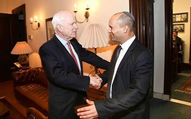 Naftali Bennett, right, meeting with Senator John McCain in Washington, Thursday. (photo credit: Shmulik Almany/Flash90)