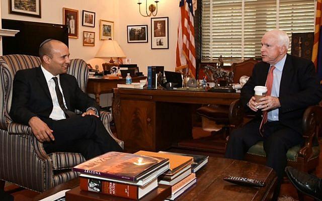 Economics and Trade Minister Naftali Bennett meets with Republican US Senator John McCain in Washington on November 14, 2013. (photo credit: Shmulik Almany/Flash90)
