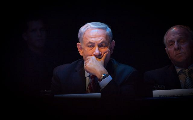 Benjamin Netanyahu at a prize ceremony in 2013. (Photo credit: Emil Salman/POOL/Flash90)