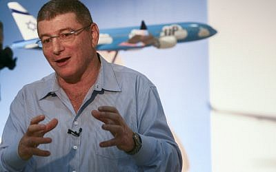 "Eliezer Shkedi, CEO of the Israeli national airline, El Al seen during a launching event for the new low-cost brand ""Up"" in Tel Aviv on November 26, 2013 (photo credit: Roni Schutzer/Flash90)"