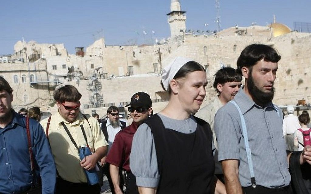 Amish community members at the Western Wall in Jerusalem's Old City, Thursday, November 28, 2013 (photo credit: Miriam Alster/Flash90)