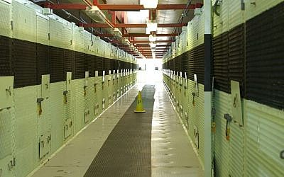 The cell block on a typical ward in Camp Delta, Guantanamo Bay, Cuba (photo credit: US Dept. of Defense/File)