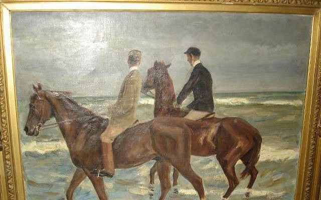 Photo of a painting titled 'Reiter am Strand' (Riders at the Beach) by German artist Max Liebermann, which was among the more than 1400 works of art seized by German authorities in an apartment in Munich in February 2012 (photo credit: AP/Staatsanwaltschaft Augsburg)