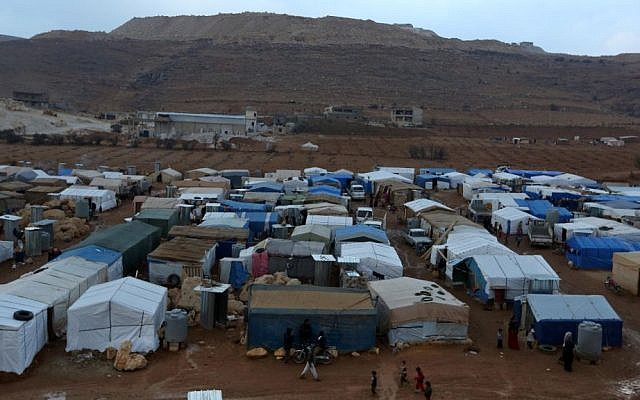 A Syrian refugee camp in the eastern Lebanese border town of Arsal in 2013. (photo credit: AP/Bilal Hussein/FIle)
