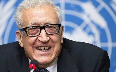 UN Joint Special Representative for Syria Lakhdar Brahimi addresses the media at the European headquarters of the United Nations, in Geneva, Switzerland, on Monday (photo credit: AP/Keystone/Salvatore Di Nolfi)