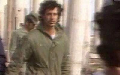 Tzachi Hanegbi at the Sinai memorial monument 1982 (photo credit: Channel 2 screenshot)