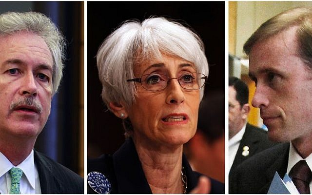 US Deputy Secretary of State William Burns; chief US nuclear negotiator Wendy Sherman; and Vice President Joe Biden's top foreign policy adviser, Jake Sullivan. The trio were part of the delegation that secretly engaged in high-level, face-to-face talks with Iranian officials, which paved the way for the deal signed in Geneva. (photo credit: AP/File)