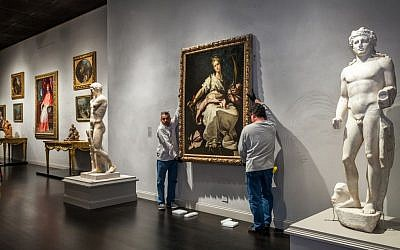 This Nov. 25, 2013, photo released by Los Angeles County Museum of Art shows an installation of a painting, St. Catherine of Alexandria, painted by Bernardo Strozzi at the Los Angeles County Museum of Art. (photo credit: Los Angeles County Museum of Art/AP)