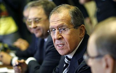 Russian foreign minister Sergei Lavrov during a meeting with his Egyptian counterpart Nabil Fahmy, in Cairo, Egypt, on Thursday, November 14, 2013. (photo credit: AP Photo/Amr Nabil)