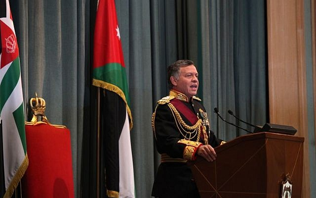 King Abdullah II of Jordan gives a speech during the opening session of parliament in Amman, Jordan, on Sunday, November 3, 2013. (photo credit: AP Photo/Mohammad Hannon)