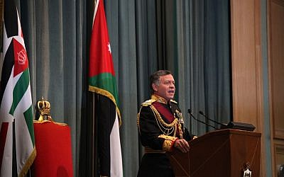 King Abdullah II of Jordan gives a speech during the opening session of parliament in Amman, Jordan, Sunday, Nov. 3, 2013. (photo credit: AP/Mohammad Hannon)