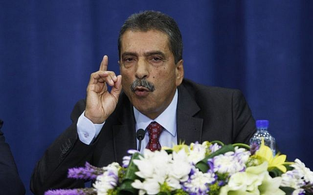 Palestinian investigator Tawfik Tirawi speaks during a press conference in the West Bank city of Ramallah, Friday, Nov. 8, 2013. (photo credit: AP Photo/Majdi Mohammed)