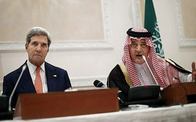 Saudi Arabia's Foreign Minister Prince Saud al-Faisal speaks during a joint press conference with US Secretary of State John Kerry in Riyadh earlier in November. (photo credit: AP/Jason Reed, Pool)