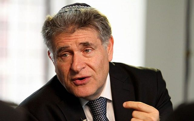 Rabbi Abraham Skorka during an interview at the Jewish Theological Seminary in New York on October 30, 2013. (photo credit: AP/Tina Fineberg)