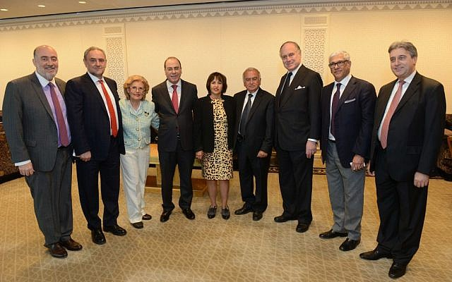 Participants of the special UN session. From left to right: Ambassador Ron Prosor, World Jewish Congress' Robert Singer, witness Levana Zamir, Minister Silvan Shalom, witness Linda Menuchin, former president of the Aleppo Jewish Communty Tofic Kassap, former ambassador Ron Lauder, Sylvain Abitbol of the Justice for Jews from Arab Countries, Rabbi Elie Abadie of NYC's the Edmund J Safra Synagogue (photo credit: courtesy of the Israeli Mission to the UN)