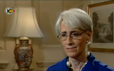 Where in the world is Under Secretary of State for Political Affairs Wendy Sherman? (screen capture: Channel 10)