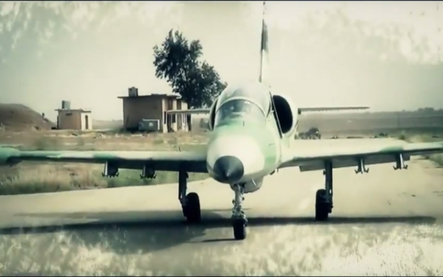 A Syrian rebel L-39 Albatros jet as seen in a video uploaded by Jaish al-Islam. (screen capture: YouTube)