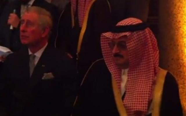 Prince Mohammed bin Nawaf bin Abdulaziz, pictured in London alongside Britain's Prince Charles (photo credit: YouTube screenshot)